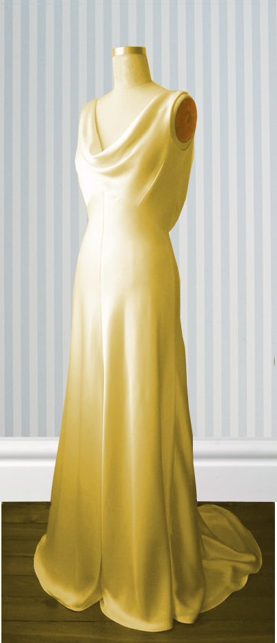 Bias cut silk crepe bridal gown with cowl neck and scoop back. Small puddle train