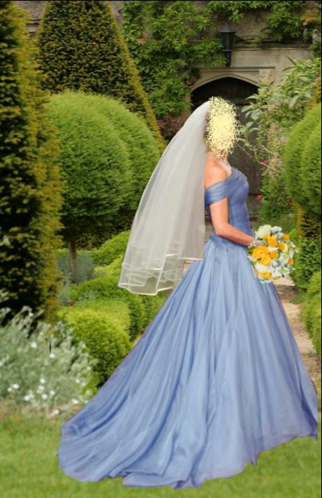 Blue silk, off the shoulder, full skirted wedding dress