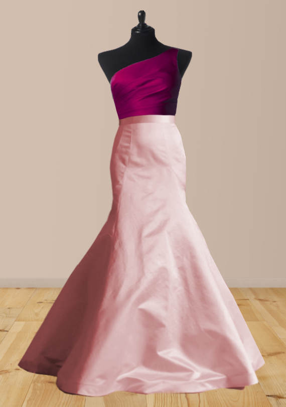 Duchesse satin silk two tone fishtail wedding dress