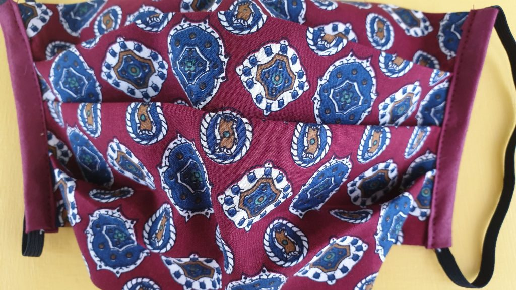Burgundy paisley face coverings Judith Craig Couture